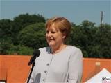 Angela Merkel Gesicht face Kopf Promi Rede Schloss Meseberg Bundesregierung Zukunftsgespraech Bundeskanzlerin Sozialpartner Land Brandenburg Garten