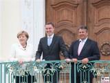 Angela Merkel, Taavi Rõivas, SigmarGabriel Klausur Tagung Schloss Meseberg Gaestehaus Bundesregierung