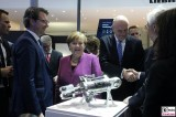 BK Angela Merkel Gesicht, MP Dietmar Woidke LIEBHERR Eroeffnung ILA Luft und Raumfahrt Ausstellung Berlin Schoenefeld airport Berichterstattung