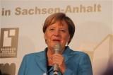 BK Angela Merkel, Gesicht Promi Landesvertretung Sachsen Anhalt Bauhaus Dessau Kultur Sommernacht Berlin Berichterstatter TrendJam
