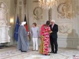 Badreldin Abdalla Mohamed Ahmed, Angela Merkel, Akua Sena Dansua, Frank-Walther Steinmeier Diplomatisches Corps Schloss Meseberg Gartensaal Berichterstatter
