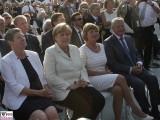 Barbara Hendricks, Angela Merkel, Daniela Schadt, Joachim Gauck Gesicht Portrait Promi Bundespraesident Publikum Schloss Bellevue Buergerfest Schlosspark Berlin Berichterstatter