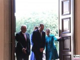 Begruessung Prince William, Catherine, Bundespräsident Steinmeier, Buedenbender Schloss Bellevue Berlin Berichterstatter