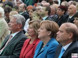 Joachim Gauck, Daniela Schadt, Angela Merkel, Yakov Hadas-Handelsman Gesicht Promi Schloss Bellevue Berlin Bundespraesident Buergerfest Park Ehrenamt