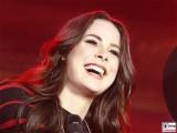 Lena Meyer-Landrut lacht Gesicht face Kopf Brandenburger Tor Buehne Festival der Einheit Platz des 18 Maerz