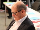 Olaf Scholz-Gesicht-links Brille Bundesminister Finanzen Vizekanzler Kopf Promi-SPD Bundesparteitag-Berlin-CityCube-Messe-Berlin-Berichterstattung-TrendJam