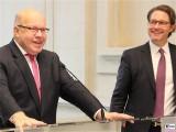 Peter Altmaier, Andreas Scheuer Lachen Gesicht Pressekonferenz BMWi BMVI Wirtschaftsministerium Berlin Scharnhorststr Invalidenstr Berichterstattung TrendJam
