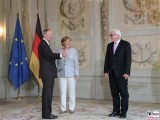 S.E. John B. Emerson, Angela Merkel, Frank-Walther Steinmeier Diplomatisches Corps Schloss Meseberg Gartensaal Berichterstatter