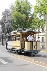 Straßenbahn Berliner Straße Glienicker Brücke Lindner Triebwagen 1907 zweiachsiger Motorwagen