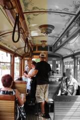 Straßenbahn innen Lindner Triebwagen 1907 zweiachsiger Motorwagen