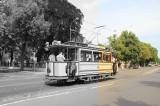 Straßenbahnwagen Potsdam Berliner Straße Richtung Glienicker Brücke Lindner Triebwagen 1907 zweiachsiger Motorwagen