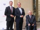 Wolfgang Schaeuble, Armin Laschet,Mike Schubert Gesicht M100 Media Award Sanssouci Colloquium 2019 Potsdam Berichterstattung Trendjam